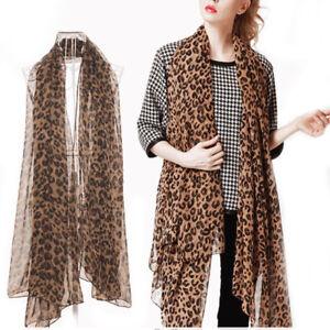 ... Femmes-Foulard-Longue-Echarpe-Mousseline-Soie-Imprimee-Leopard- 35e579f28a3