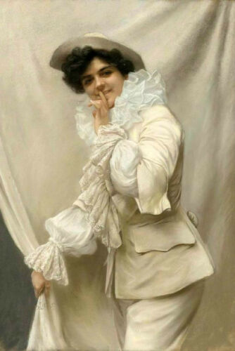 Oil painting Edmondo Pizzella young woman wearing white cloth Hand painted art