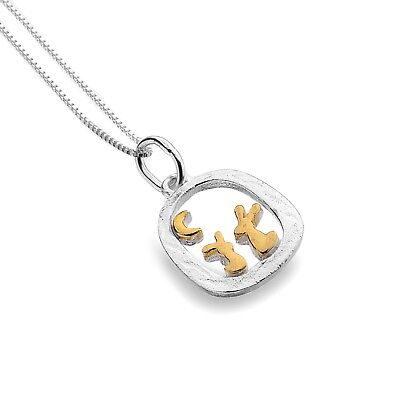 Bunny Rabbit Pendant Sterling Silver Gold Detail 925 Hallmark All Chain Lengths