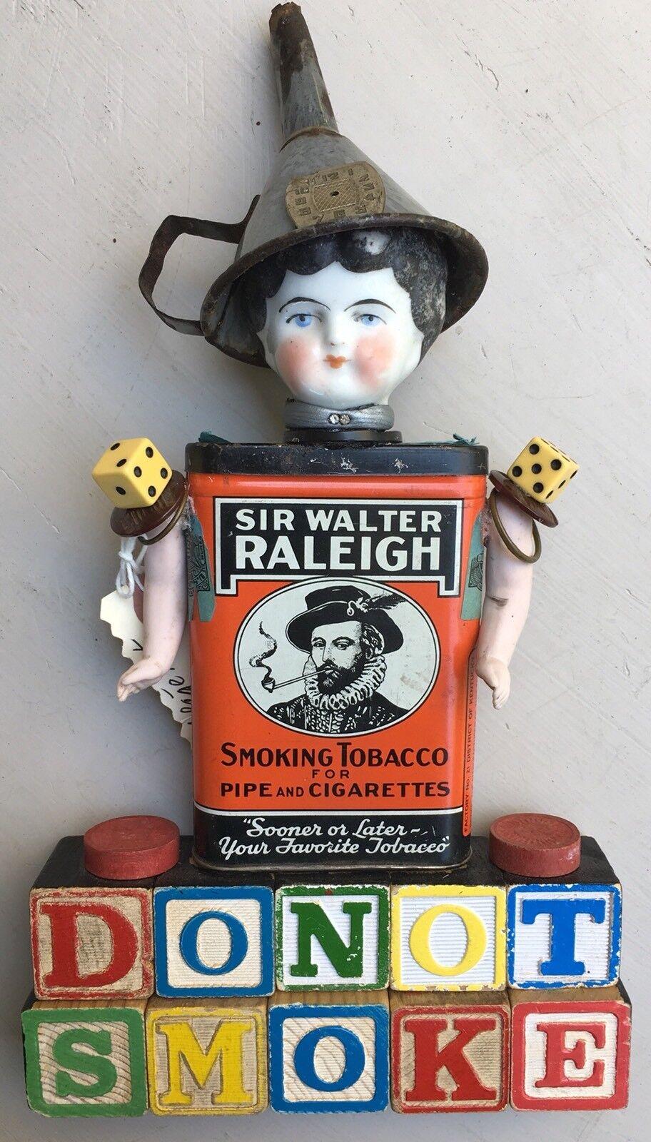 Uno de una tipo Steampunk ensamblaje Sir Raleigh Arte Muñeca Antiguo mixta no fumar