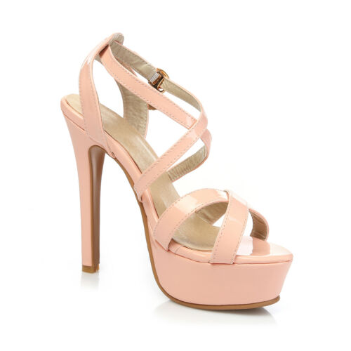 Ladies Shoes Synthetic Leather Platform High Heels Strappy Sandals US Size S104