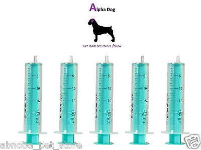 5 x 20ml Sterile All Plastic Syringe Canine Artificial Insemination AI Dog Breed