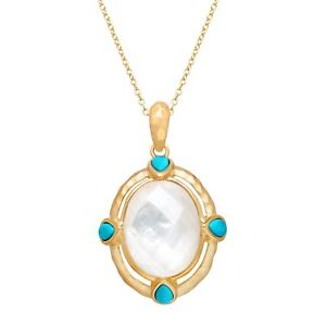 Pendant-Necklace-with-Crystal-over-Mother-of-Pearl-amp-Turquoise-in-14K-Gold-over