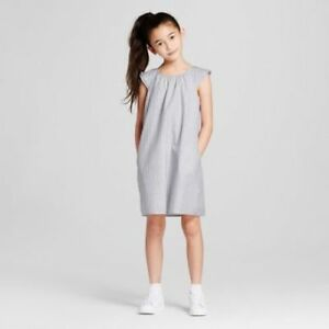 Details About Victoria Beckham Target Girls Gray White Stripe Cap Sleeve Peasant Dress Sz L