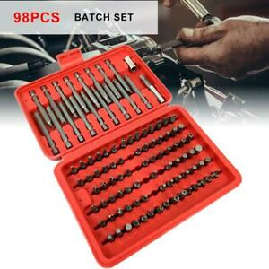 98pcs-Torx-Star-Spline-Hex-Cross-Slotted-Socket-Bit-Set-Garage-Repair-Tools-Kit