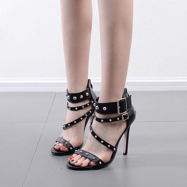 Sandalei eleganti tacco tacco tacco stiletto 11 cm nero borchie simil pelle eleganti 9794 682ebc