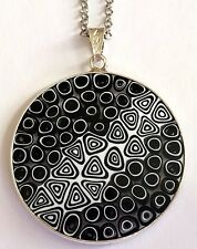 Sterling Silver Murano Millefiori Necklace Pendant Venetian Black Glass Murrina