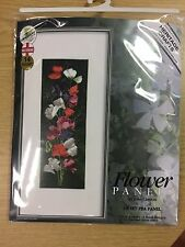 JOHN CLAYTON FLOWER PANEL 'SWEET PEA' Cross stitch kit HERITAGE CRAFTS RRP£35