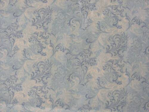 """white and blue swirtls on pale blue cotton quilt fabric 1.5 yds x 45/"""""""
