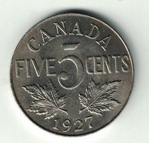 CANADA-1927-FIVE-CENTS-KING-GEORGE-V-NICKEL-CANADIAN-COIN