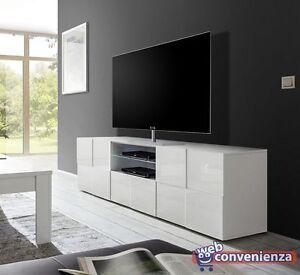 Mobile Tv Bianco Lucido.Dama Mobile Porta Tv Moderno Contenitore 2 Ante 1 Cassetto Bianco