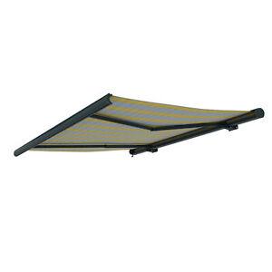 Markise-Kassettenmarkise-Sonnenschutz-elektrisch-350x300cm-Grau-Gelb-B-Ware