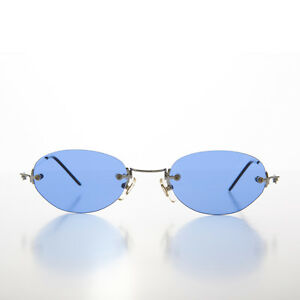 6bdebc78f1 Image is loading Oval-Blue-Colored-Rimless-Lens-Vintage-Sunglasses-With-