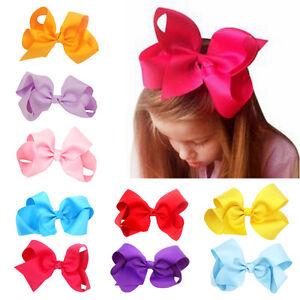 6-Inch-Big-Bows-Boutique-Hair-Clip-Pin-Alligator-Clips-Grosgrain-Ribbon-Bow-HOT
