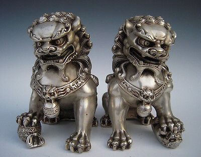 Antique tibet Silver Guardian Lion Foo Fu Dog Door guard old Statue A Pair