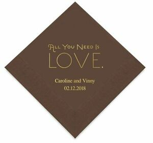 Personalized Printed All You Need is Love Wedding Reception Napkins Q17064