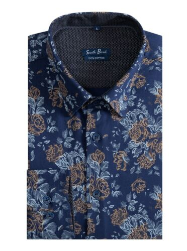 Men/'s Floral Shirt Printed Slim Premier Cotton Vintage Liberty Navy Blue Rose