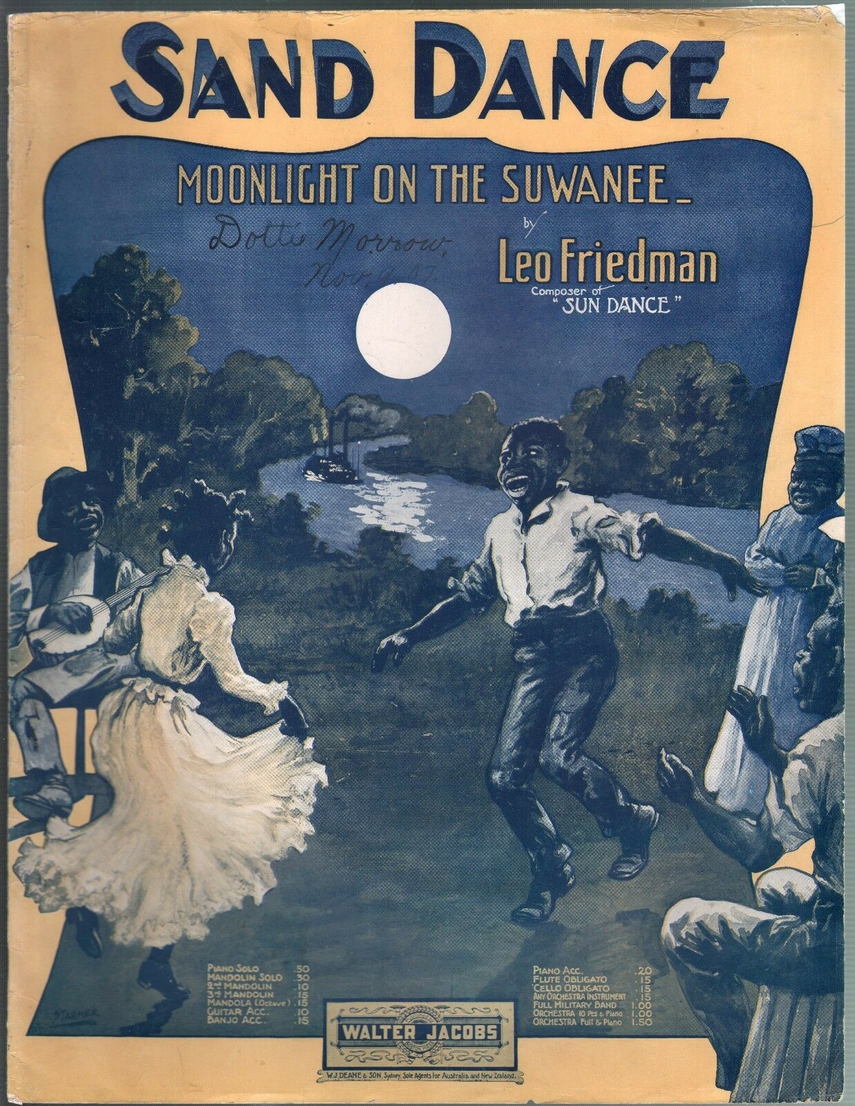 Sand Dance 1907 Large Format Sheet Music