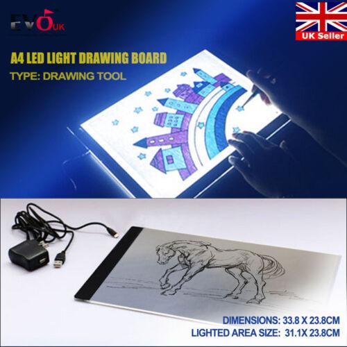 A4 LED Art Craft Design Tracing Photo Drawing Tattoo Light Box Pad Table Lamp