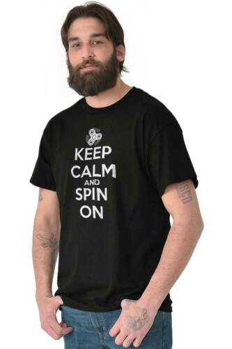 Keep Calm And Spin On Funny Fidget Spinner Short Sleeve T-Shirt Tees Tshirts