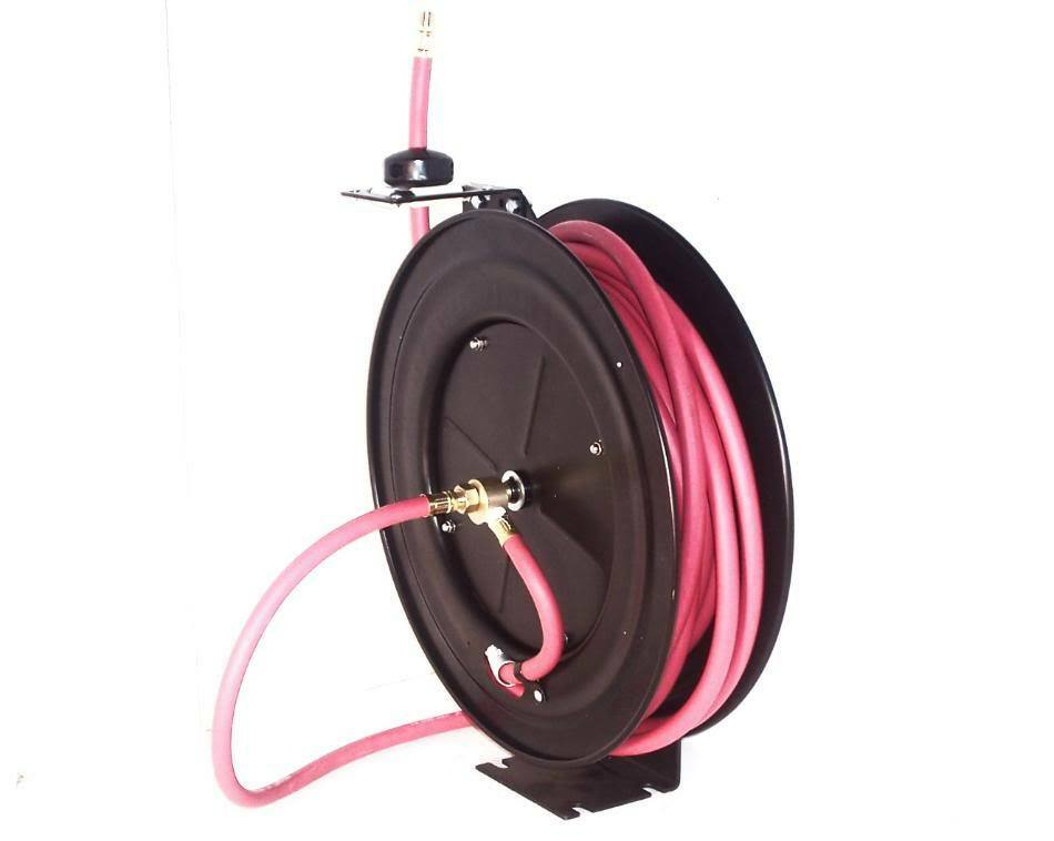 3 8  x 50 ft Auto Rewind  Retractable Air Hose Reel With rubber air Hose