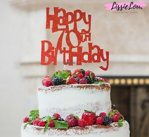 Image Is Loading LissieLou Happy 70th Birthday Cake Topper Glitter Card