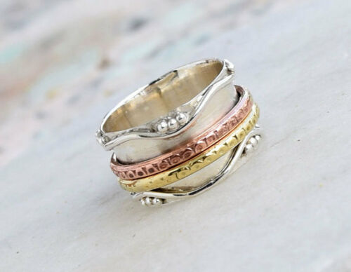 Wen Women Gift Spin Wide Band Size 6 7 8 9 10 11 Sterling Silver Spinner Ring