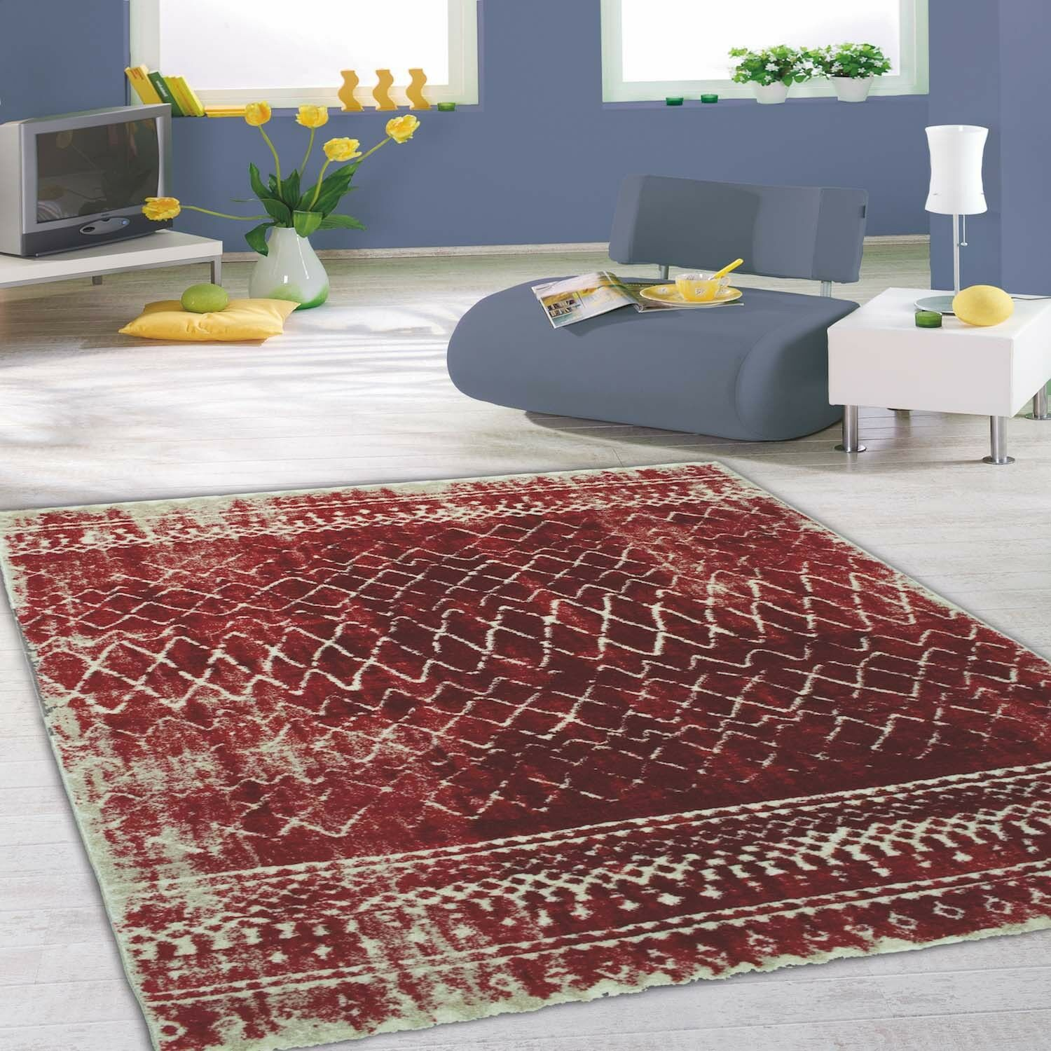 Moderne flachfor-TAPPETO SOFTTOUCH Highline con VINTAGE-pattern salotto rosso