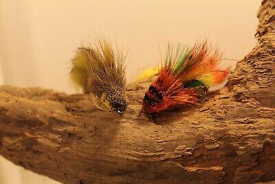 Bait Fish Orange Green Deer Hair Head Tandem Hook Size 1//0 Flies Bass Pike 3