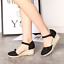 thumbnail 2 - Roman-Womens-Wedge-Mid-Heels-Strappy-Linen-Sandals-Pointy-Toe-Casual-Retro-Shoes