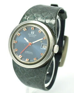 Vintage-Tissot-Sideral-Automatic-33mm-Stahl-Automatikwerk-RARE-BLUE-DIAL