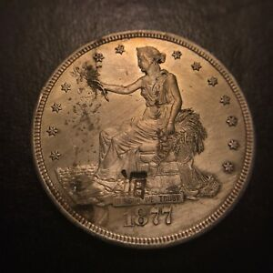 1877 CC Trade Silver Dollar Uncirculated BU MS UNC Rare Key Date Chop Marked T$1