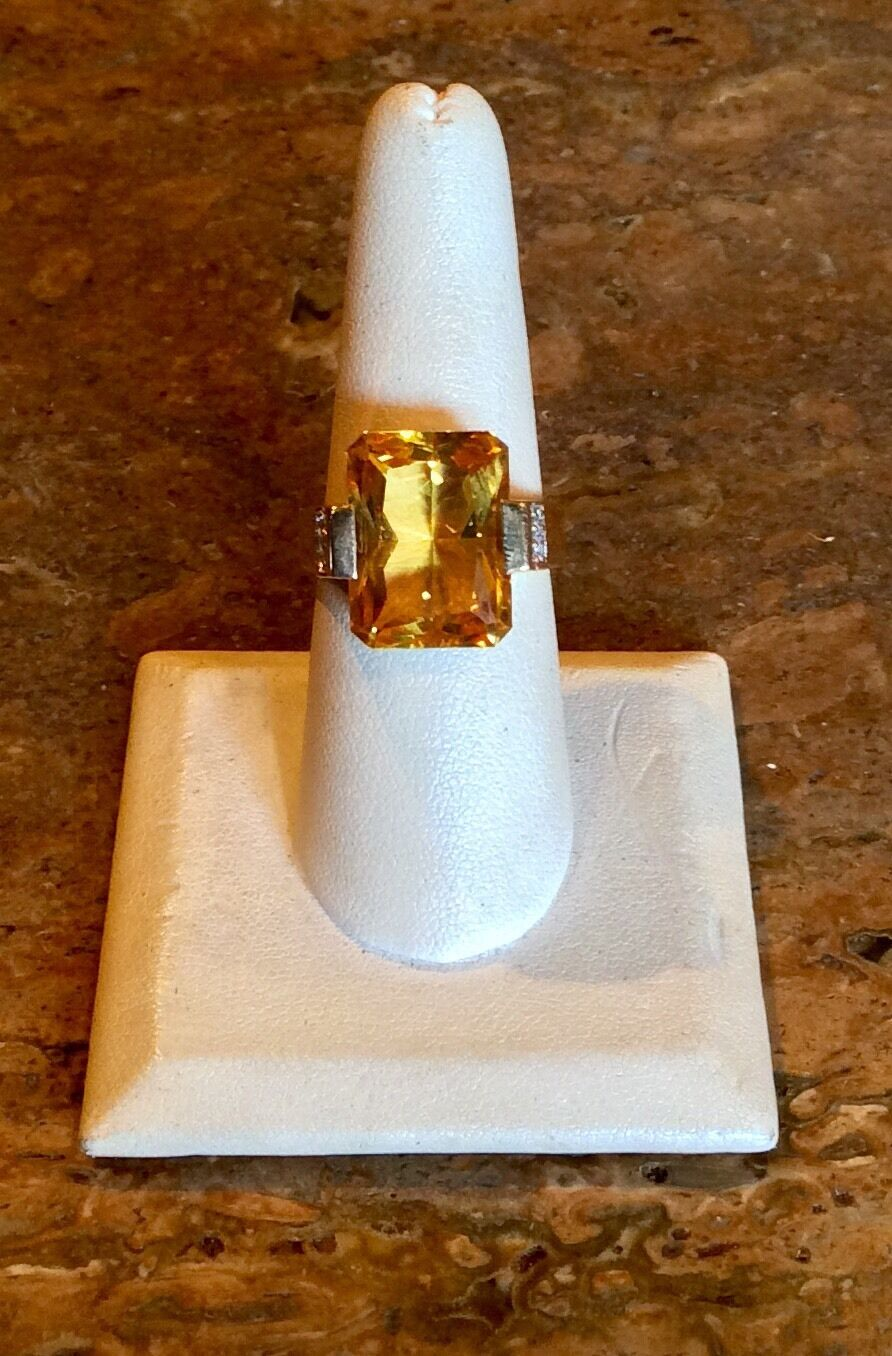 STUNNING 14K YELLOW gold CITRINE & DIAMOND RING SZ 8 GORGEOUS