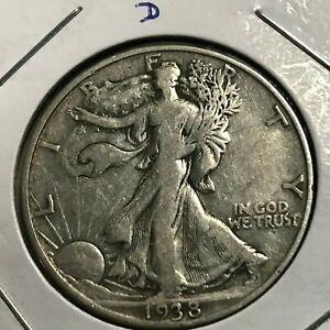 1938-D WALKING LIBERTY SILVER HALF DOLLAR  SCARCE COIN