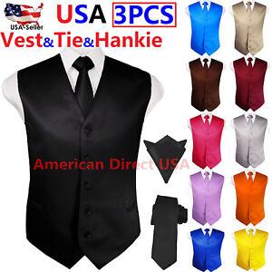 SET-Vest-Tie-Hankie-Fashion-Men-039-s-Formal-Dress-Suit-Slim-Tuxedo-Waistcoat-Coat