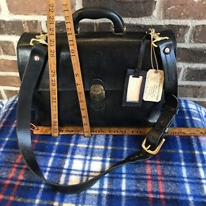 RARE-VINTAGE-1980s-MARINO-ORLANDI-BLACK-LEATHER-MACBOOK-BRIEFCASE-BAG-R-1298