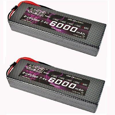 2pcs HRB Lipo Battery 7.4V 6000MAH 60C Hard Case For 1/10 Traxxas Car Truck DJI