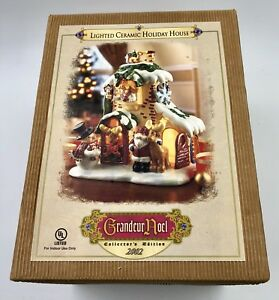 Details About Grandeur Noel 2002 Lighted Ceramic Holiday House Christmas Collector Edition Exc