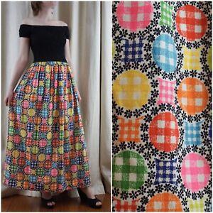 Vintage-60s-Smocked-Black-Colorful-Geometric-Hippie-Off-Shoulder-Maxi-Dress-S-M