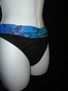 Swim-Bottom-LA-BLANCA-12-16-Black-blue-Tie-Dye-Bikini-Brief-Separates-Womens