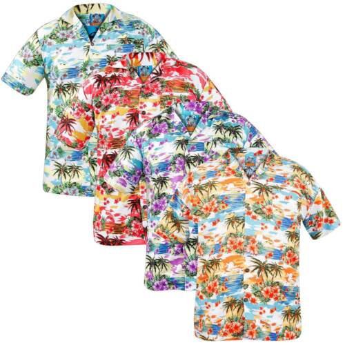 Mens Hawaiian Shirts Palm Party Fancy Dress Beach Hula Short Sleeve Shirt Top UK