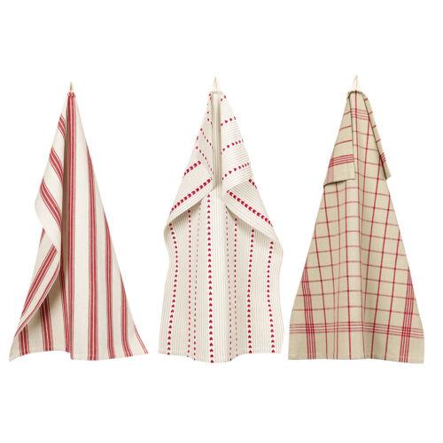 Set of 3 Vintage Red Stripe Design 100/% Cotton Fabric Tea Towel Linen Dishcloths
