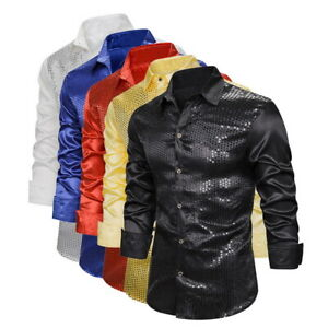 Mens-Solid-Glitter-Sequins-Shirts-Casual-Long-Sleeve-Button-Down-Party-Tops-03