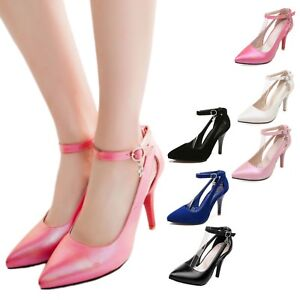 Stiletto-heel-shoes-Wedding-Girls-high-heels-Faux-leather-party-Pumps-plus-size