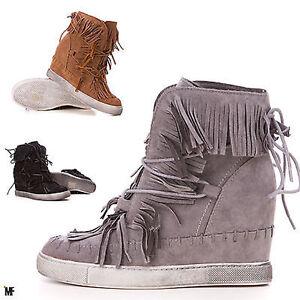 dc9ff0e321290 scarpe donna sneakers stivaletti zeppa interna tronchetto frange ...