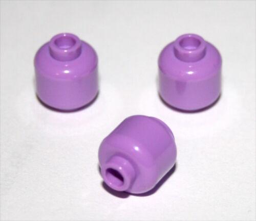 3x LEGO® Kopf unbedruckt 3626c NEU Medium Flieder Lavender Figuren Zubehör