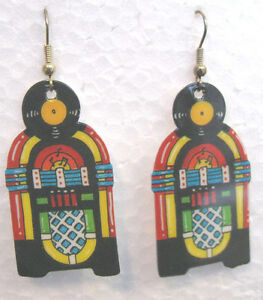 JUKEBOX-EARRINGS-Classic-1015-Wurlitzer-Great-for-50-039-s-Dances-amp-Car-Shows-NOS