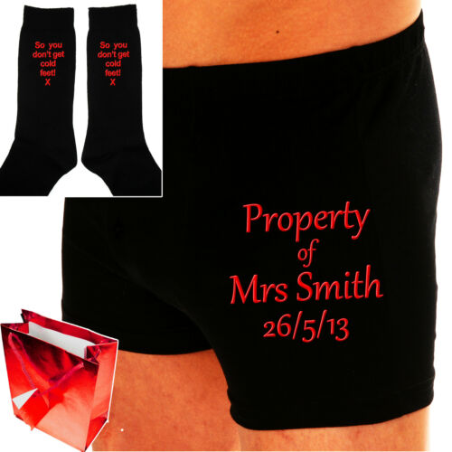 PERSONALISED GROOM BOXERS & SOCKS WEDDING DAY GIFT SET ~THE PROPERTY OF?