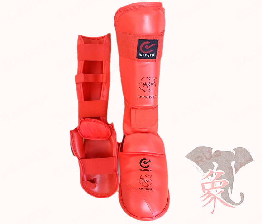PARATIBIA PIEDE OMOLOGATO KARATE WKF SHIN & INSTEP Approved Protector ROSSO rosso