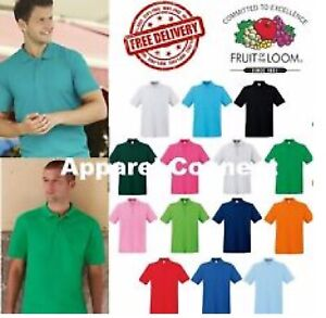 Fruit-of-the-Loom-Polo-Shirt-Plain-Short-Sleeve-Men-039-s-Polo-T-Shirt-S-XXL